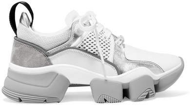 Jaw Mesh And Suede-trimmed Leather, Neoprene And Rubber Sneakers - Silver