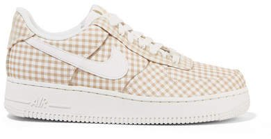Air Force 1 Leather And Pvc-trimmed Gingham Canvas Sneakers - Beige
