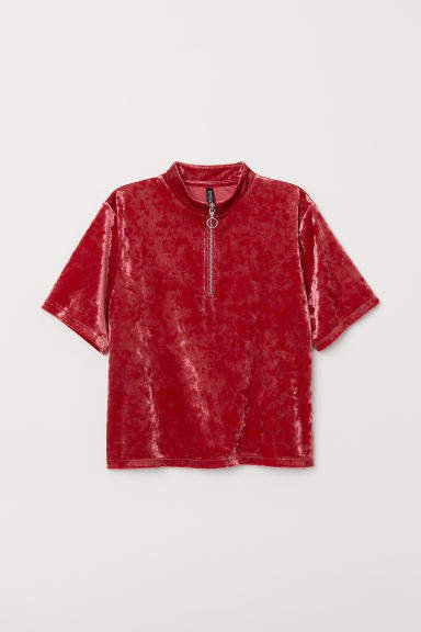 Velour T-shirt - Red
