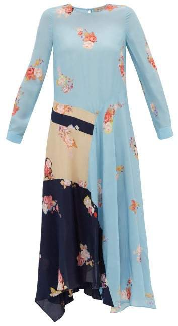 Selena Contrast Panel Floral Print Dress - Womens - Blue Multi