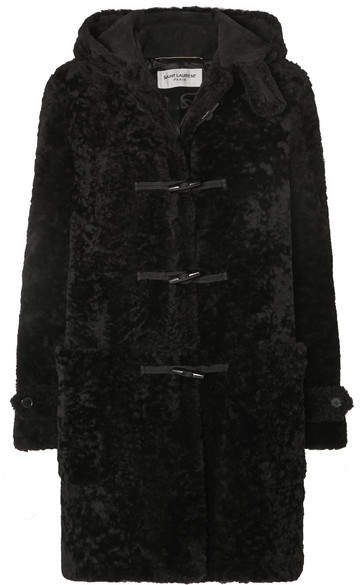 Hooded Shearling Coat - Black