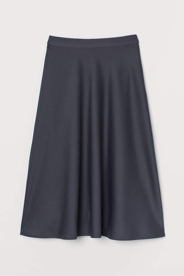 Calf-length Skirt - Gray
