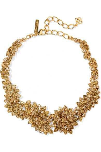 Oscar de la Renta | Gold-plated Swarovski crystal necklace | NET-A-PORTER.COM