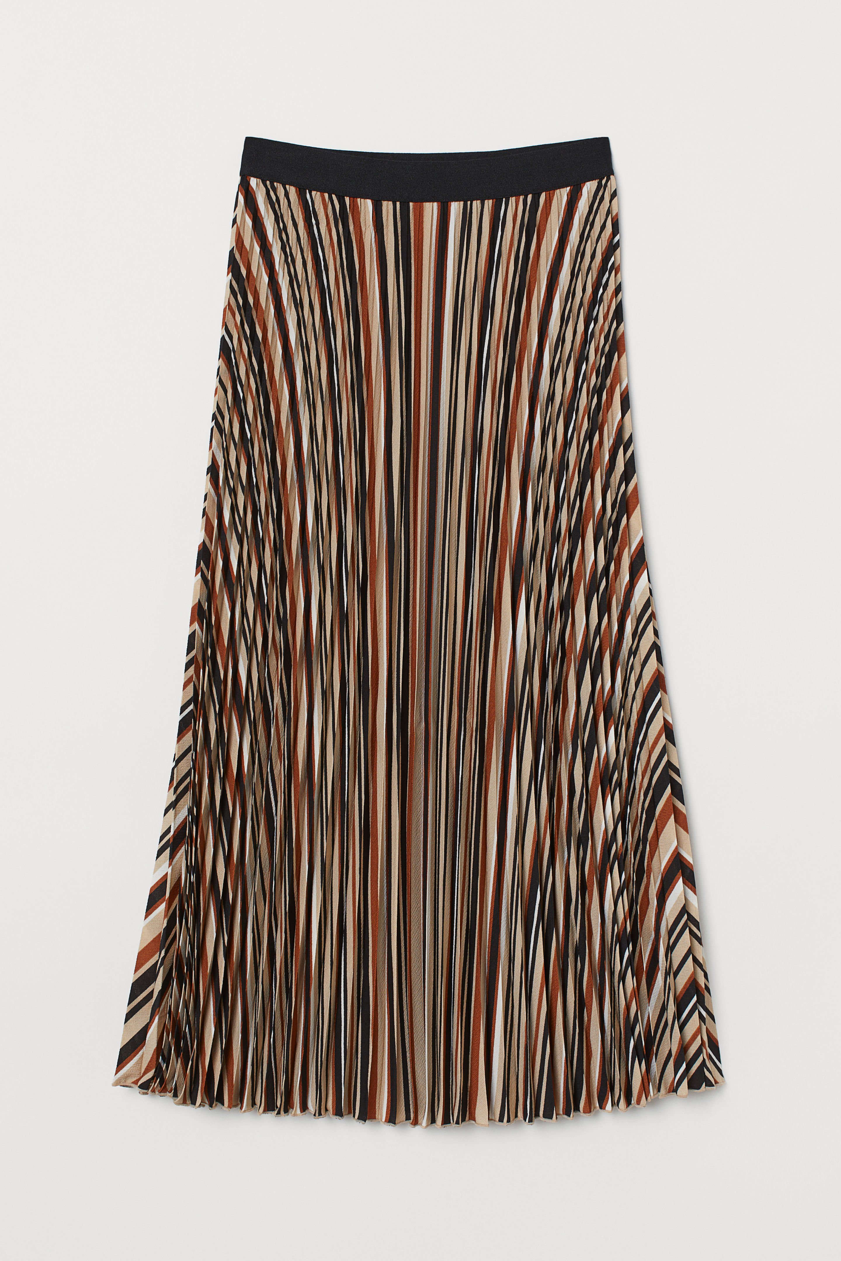 Pleated Skirt - Brown/striped - Ladies | H&M US