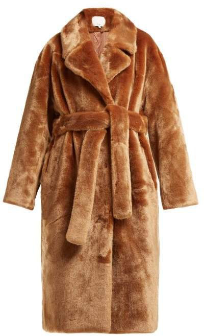 Belted Faux Fur Coat - Womens - Brown