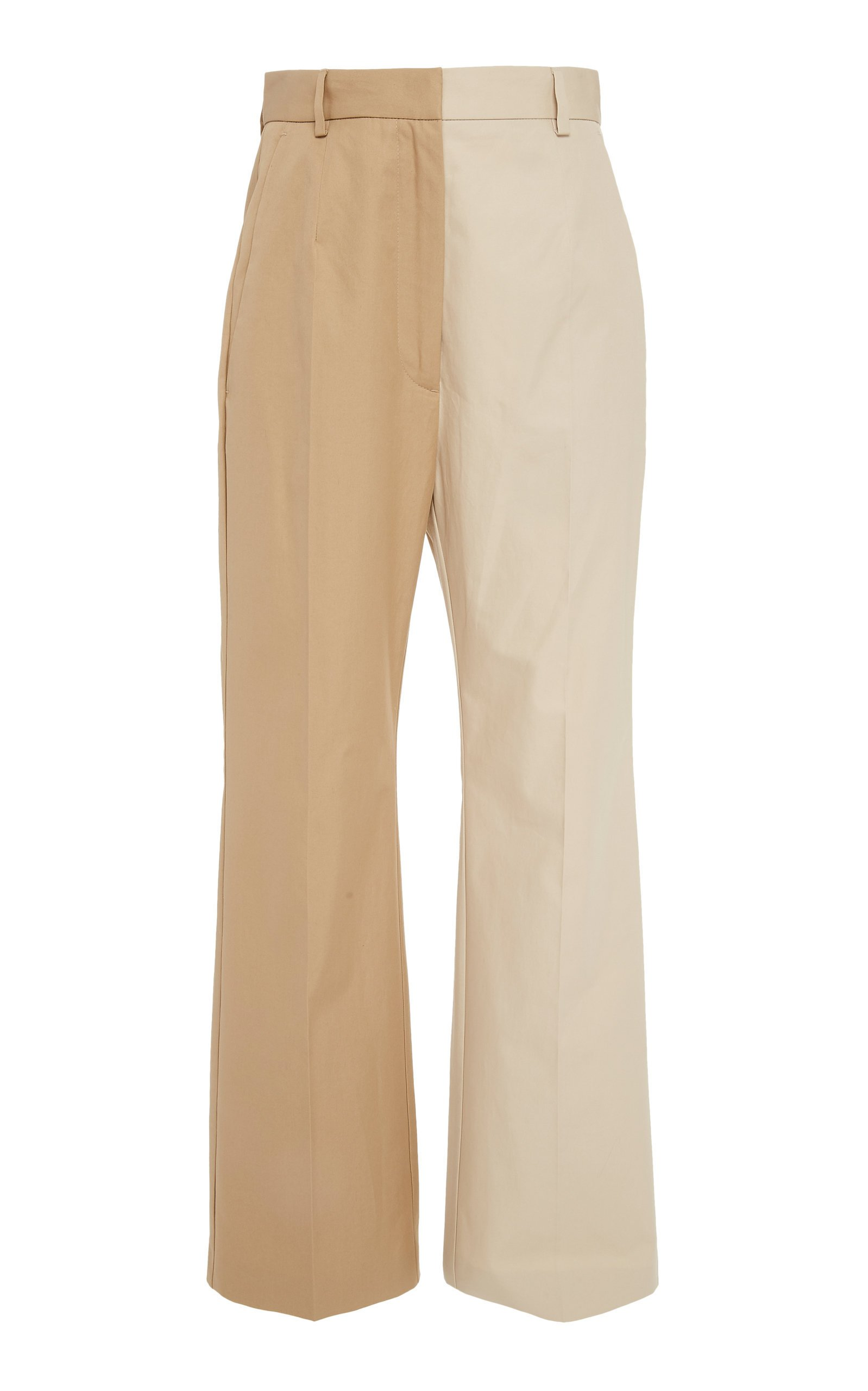 MM6 Two-Tone Cotton Straight-Leg Trousers