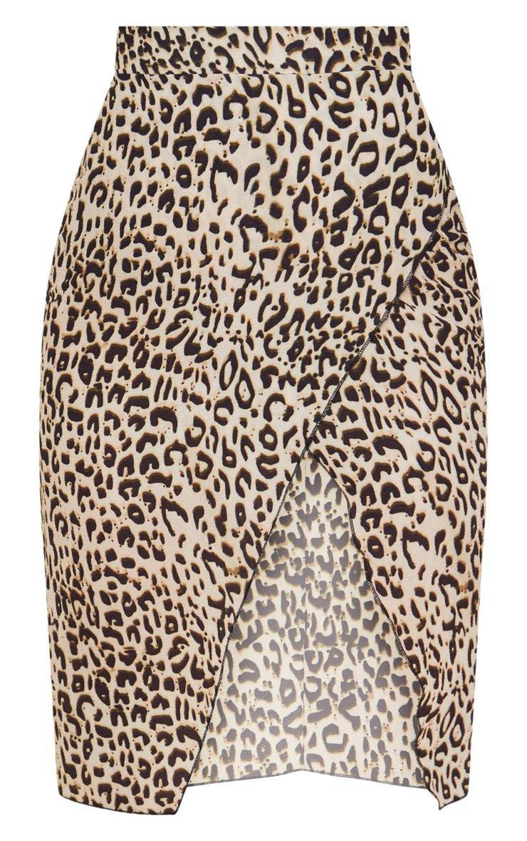 Petite Brown Leopard Wrap Pencil Skirt   PrettyLittleThing