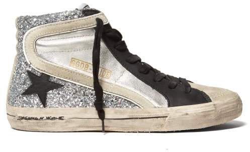 Glitter And Metallic High Top Leather Trainers - Womens - Black Silver