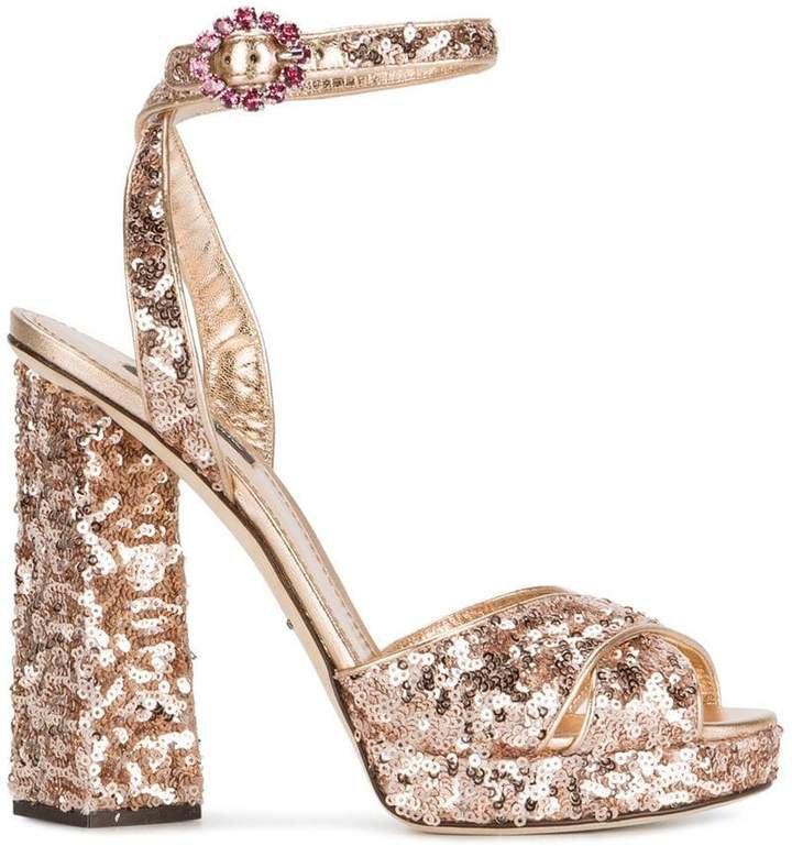 Rose Gold sequin 135 platform sandals