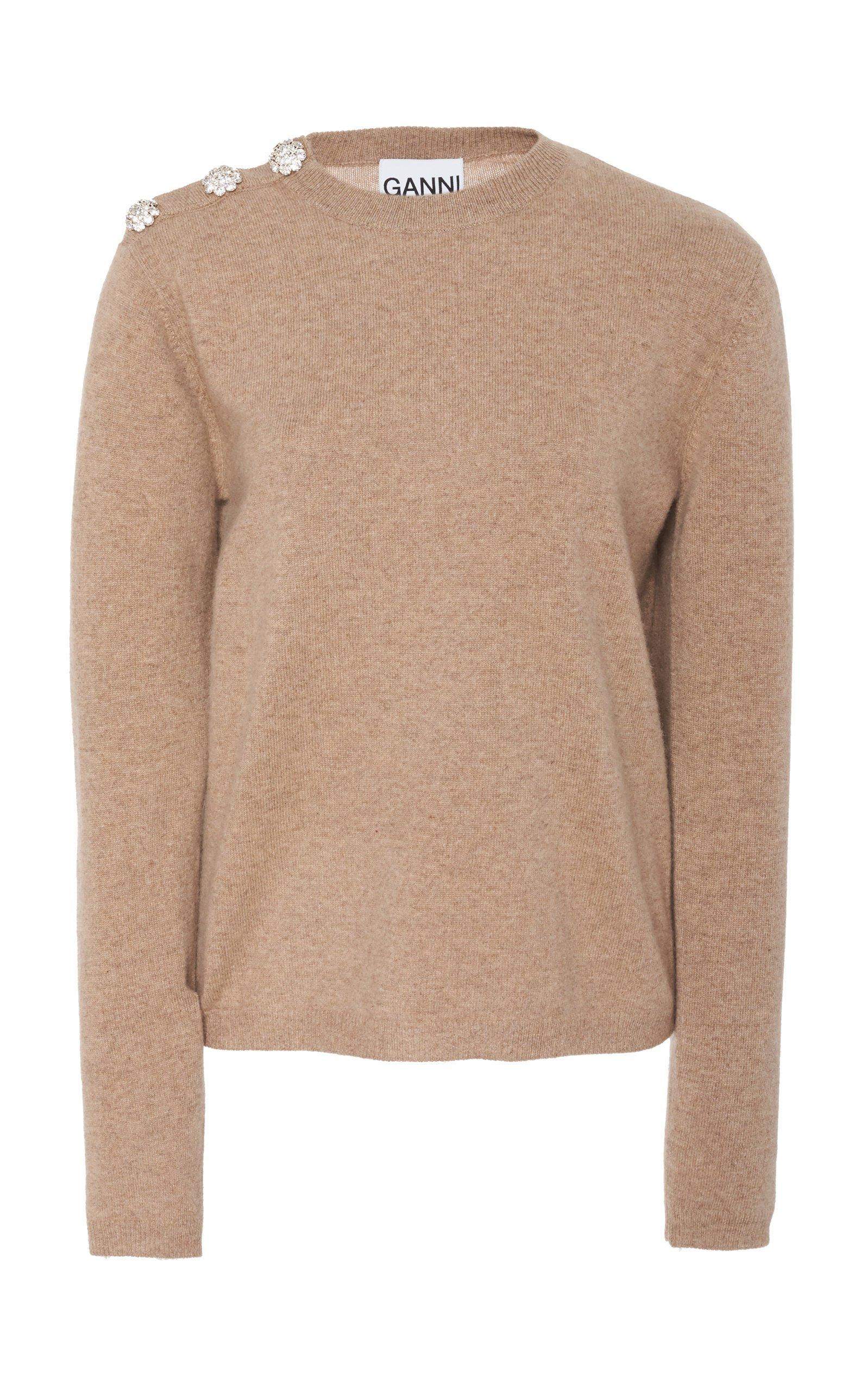 Ganni Button-Trim Cashmere Sweater