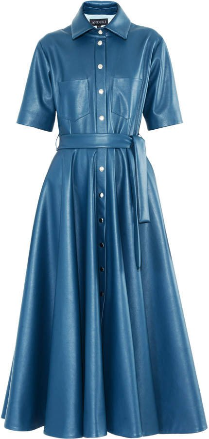 Anouki Vegan Leather Shirt Dress Size: 34