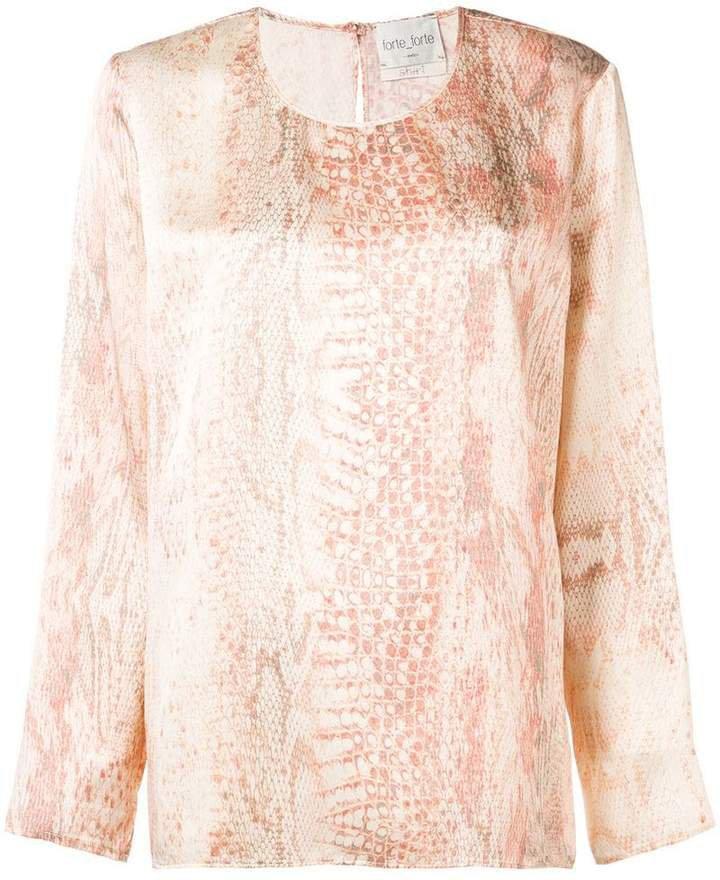 snakeskin print blouse