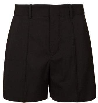 High Rise Tailored Crepe Shorts - Womens - Black
