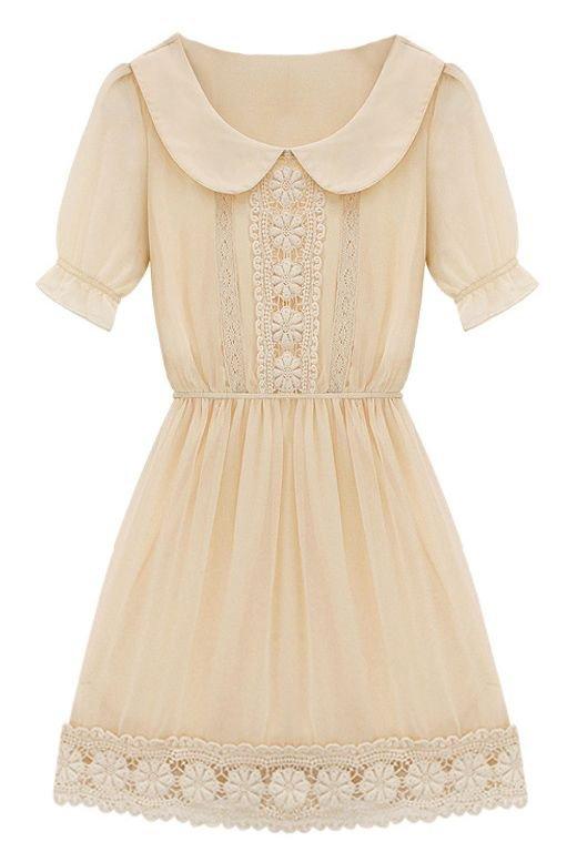 Pinterest - Apricot Short Sleeve Peter Pan Collar Crochet Lace Chiffon Dress little longer and this is golden. | Clothes