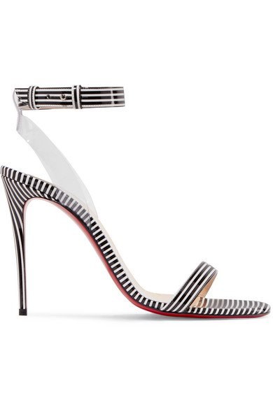 Christian Louboutin | Jonatina 100 PVC-trimmed striped patent-leather sandals | NET-A-PORTER.COM