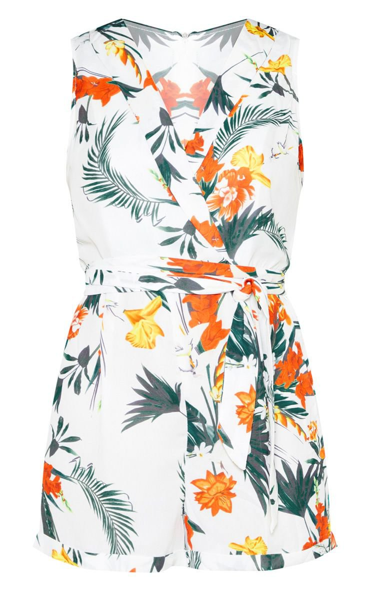 White Tropical Print Collar Detail Playsuit | PrettyLittleThing
