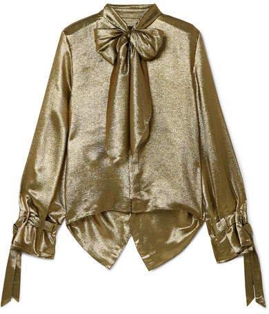 Royce Pussy-bow Cutout Metallic Silk-blend Blouse - Gold