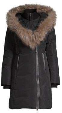 Women's Kay-X Fox Fur Collar Down Coat - Army - Size XXS