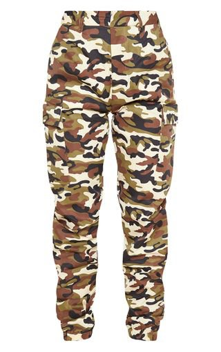 Stone Camo Print Cargo Trousers | Trousers | PrettyLittleThing