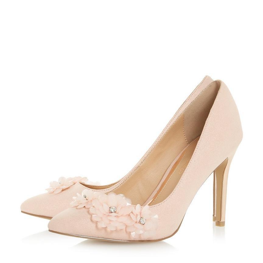 AYRIA- Flower Encrusted Stiletto Court Shoe - nude | Dune London