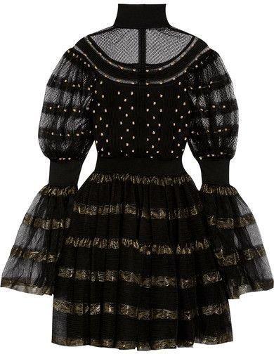 Alexander McQueen - Paneled Fil Coupé Stretch-knit Turtleneck Mini Dress