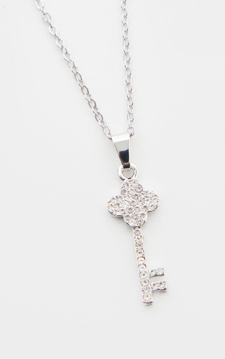 Silver Diamante Key Drop Necklace | PrettyLittleThing