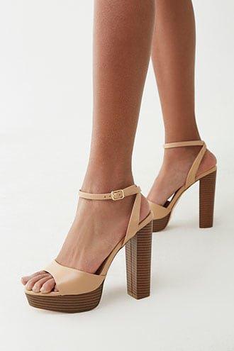 Faux Leather Platform Heels | Forever 21