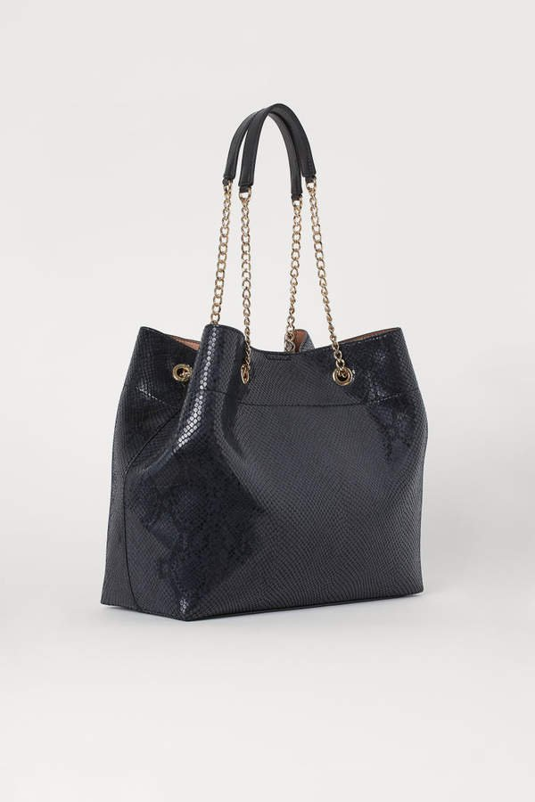 Snakeskin-patterned Shopper - Black