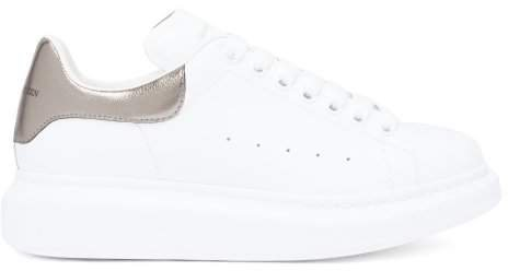 Raised Sole Low Top Leather Trainers - Womens - White Silver