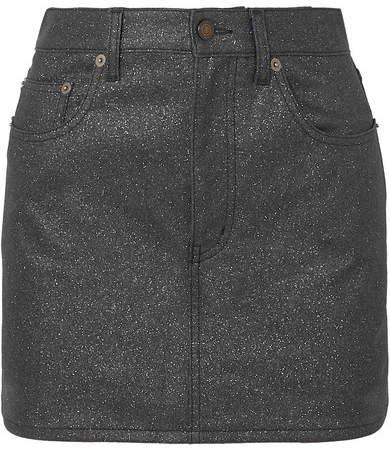 Glittered-denim Mini Skirt - Black