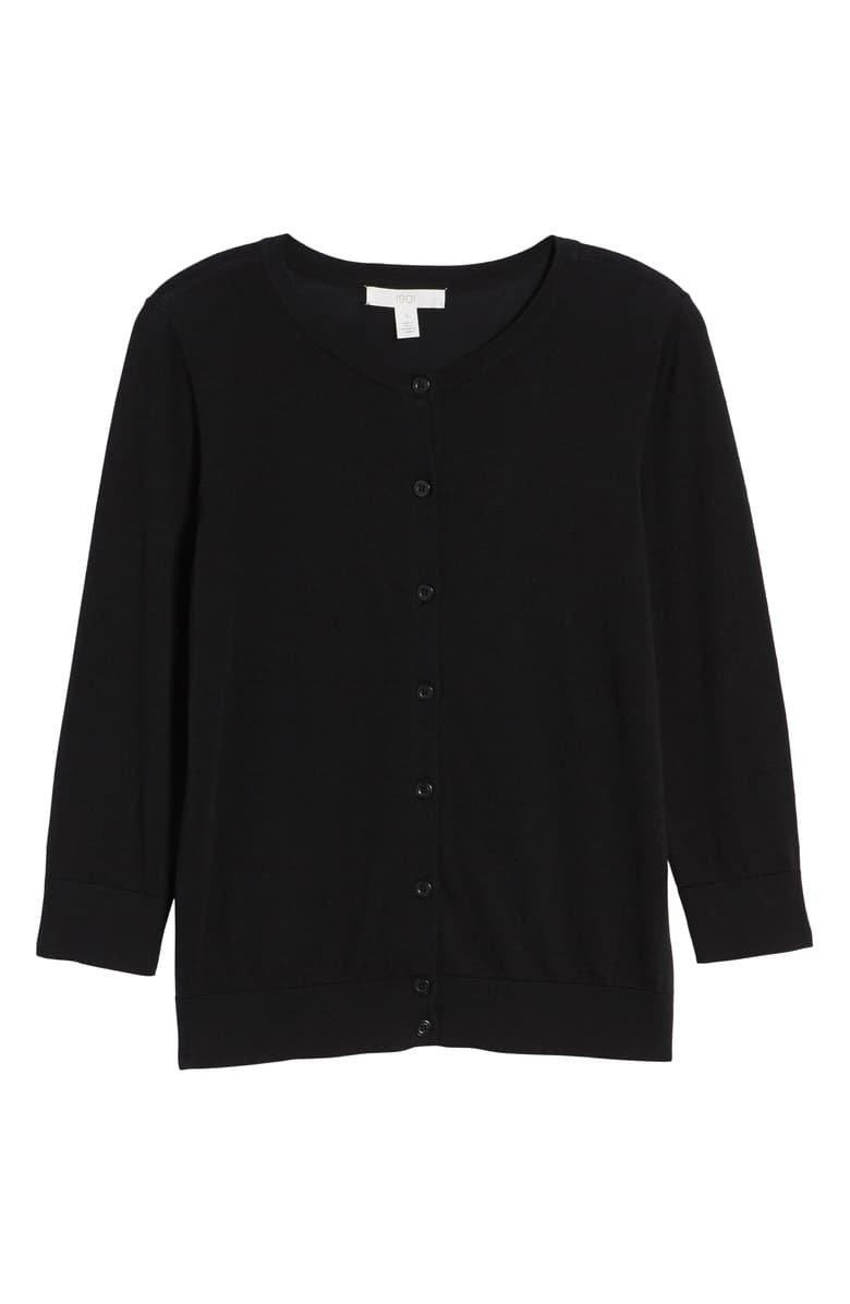 1901 Cotton Blend Cardigan (Regular & Petite) black