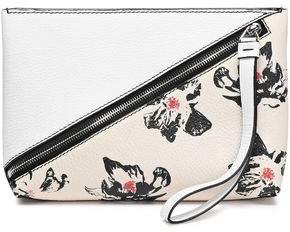 Floral-print Textured-leather Clutch
