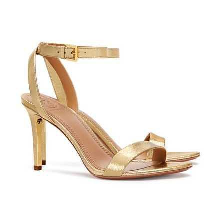 Tory Burch Gold Elana Open Toe High Heels Sandals Size US 7.5 Regular (M, B) - Tradesy