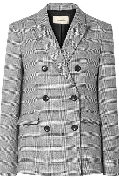 Equipment | + Tabitha Simmons Hamish oversized Prince of Wales checked voile blazer | NET-A-PORTER.COM
