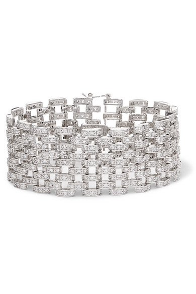 Kenneth Jay Lane | Rhodium-plated cubic zirconia bracelet | NET-A-PORTER.COM
