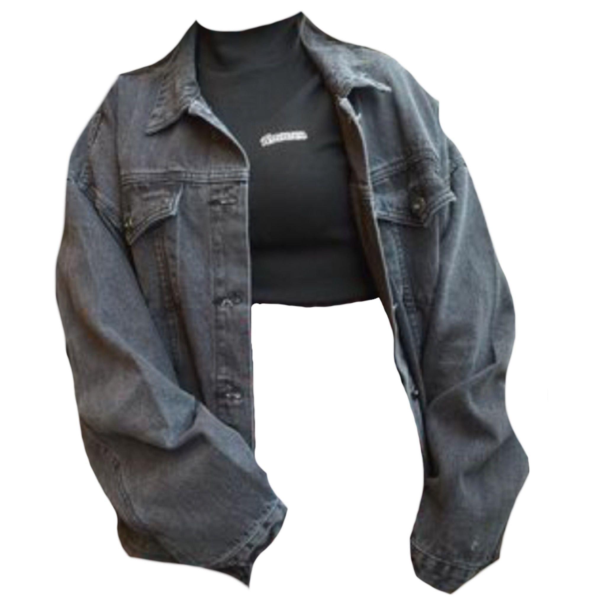 jean jacket with black crop top turtleneck