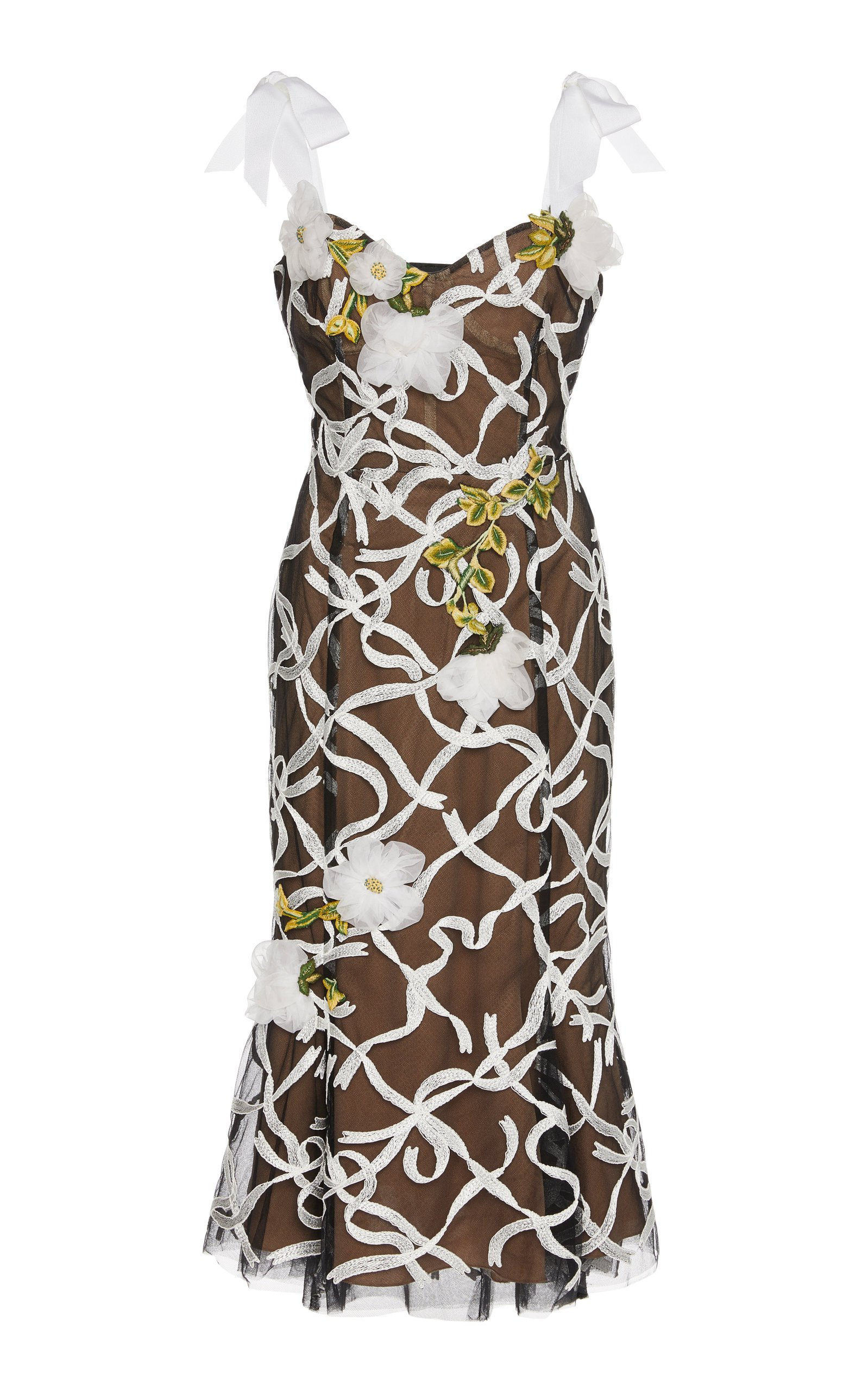 Marchesa Floral-Embroidered Organza Midi Dress