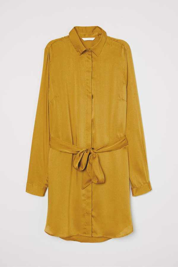 Blouse with Tie Belt - Yellow