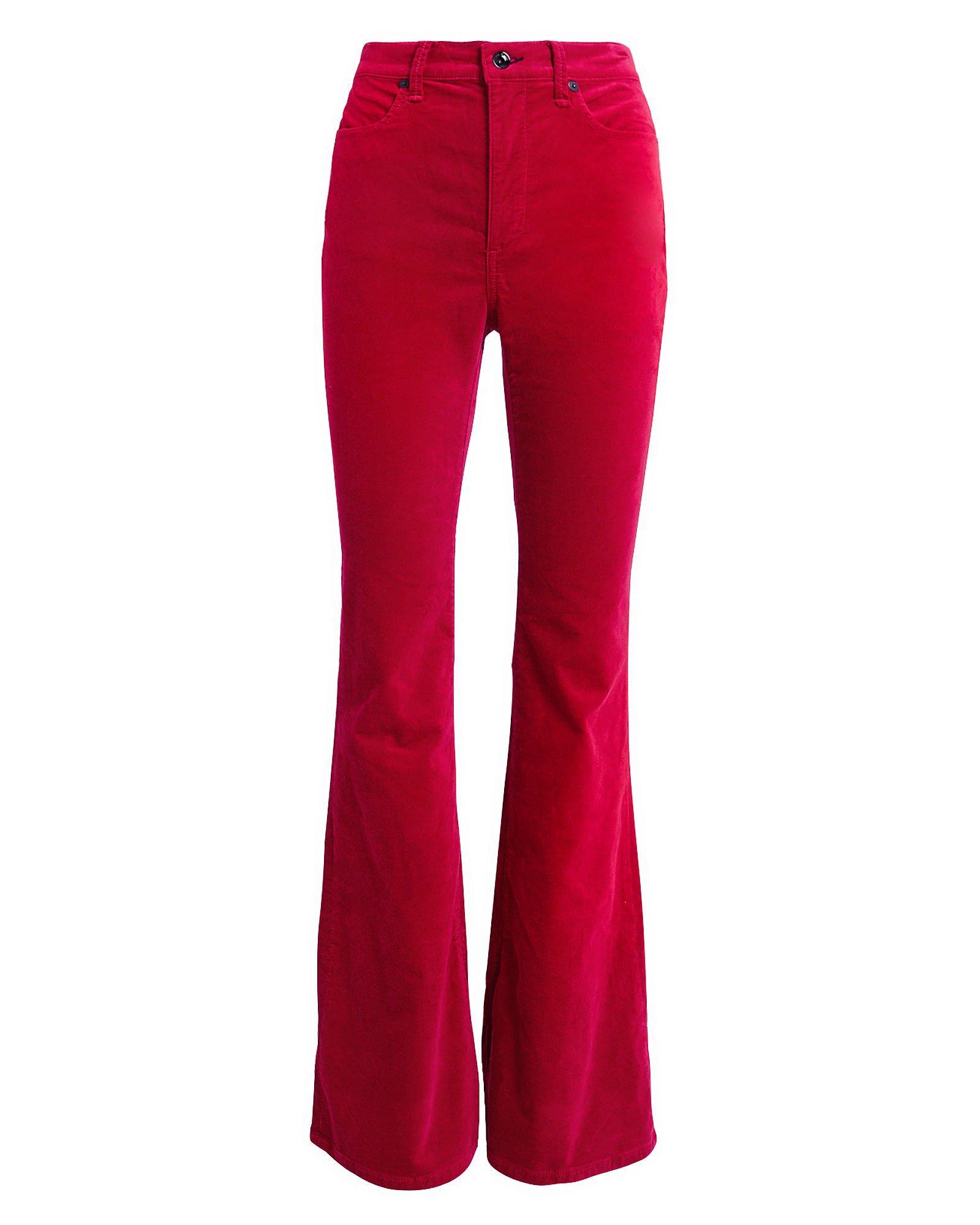 Bella Red Velvet Flare Pants