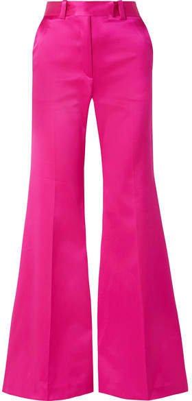 Silk-satin Wide-leg Pants - Fuchsia