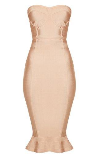Camel Frill Hem Bandage Midi Dress   Dresses   PrettyLittleThing