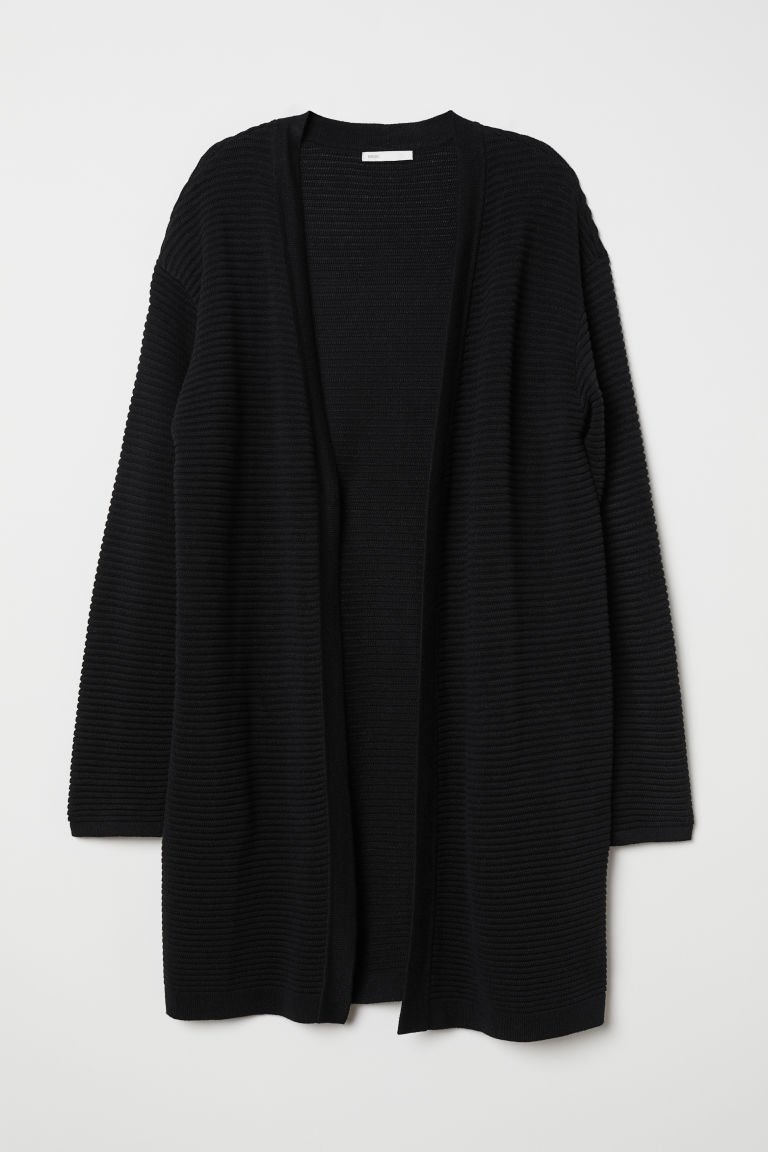 Textured-knit Cardigan - Black - Ladies   H&M US