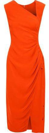 Ruched Crepe Midi Dress