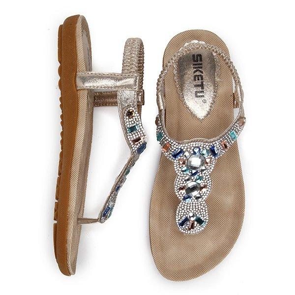 High-quality Bohemia Bead Rhinestone Crystal Clip Toe Elastic Beach Flat Flip Flops Sandals - NewChic