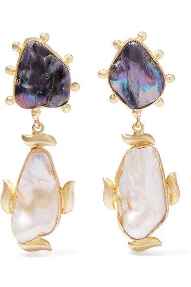 Peet Dullaert   Riya gold-plated pearl earrings   NET-A-PORTER.COM