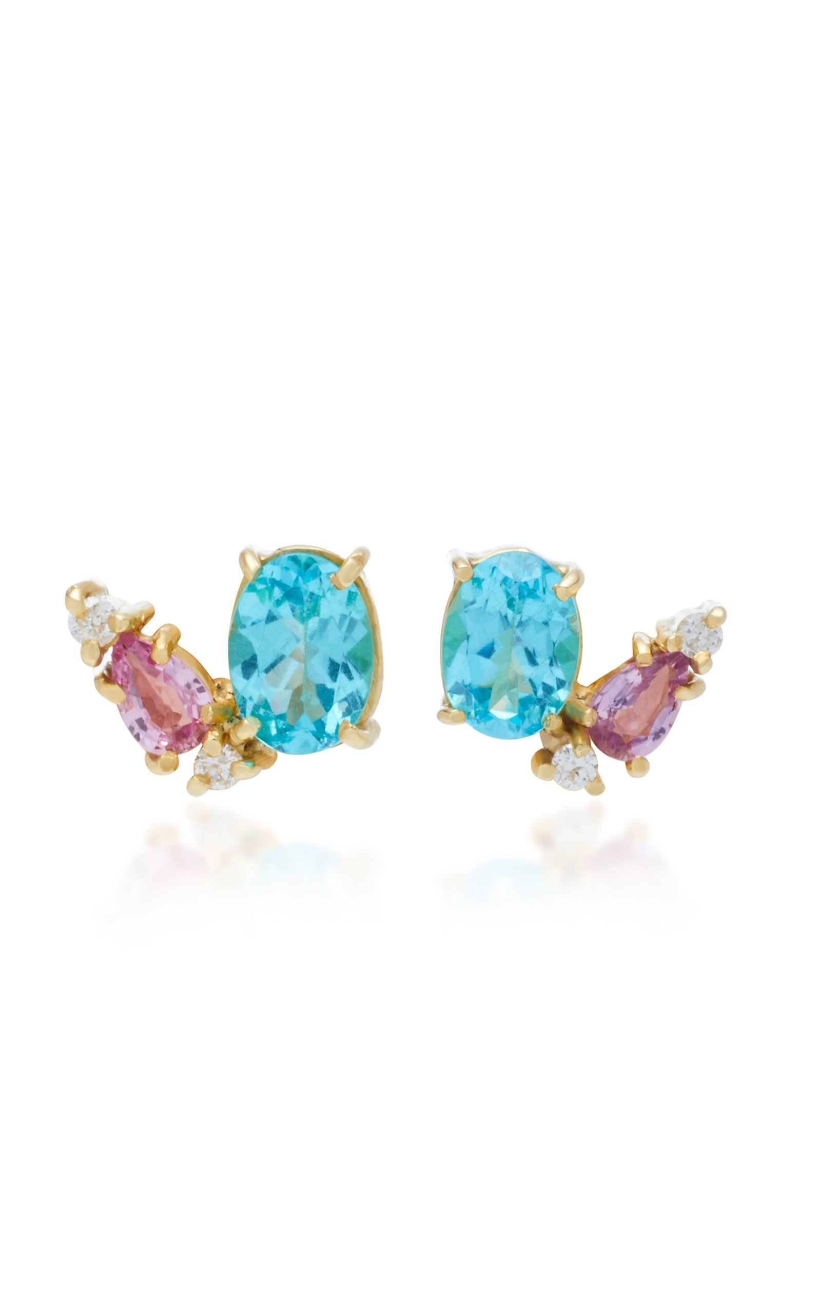 Carolina Neves 18K Gold Apatite Sapphire And Diamond Earrings