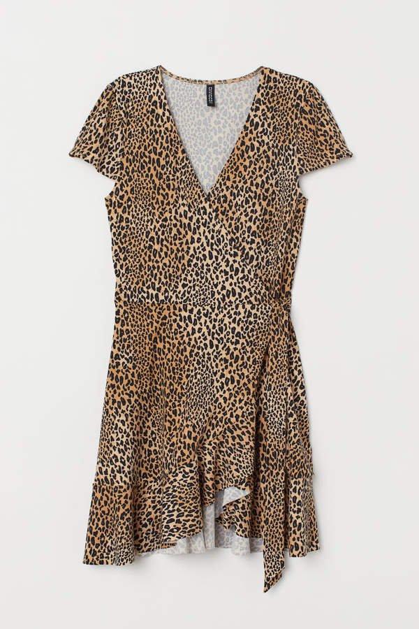 Ruffled Wrap Dress - Beige
