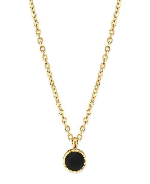 """2028 14K Gold Dipped Small Round Enamel Necklace 16"""" & Reviews - Fashion Jewelry - Jewelry & Watches - Macy's"""