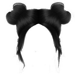 black hair - space buns