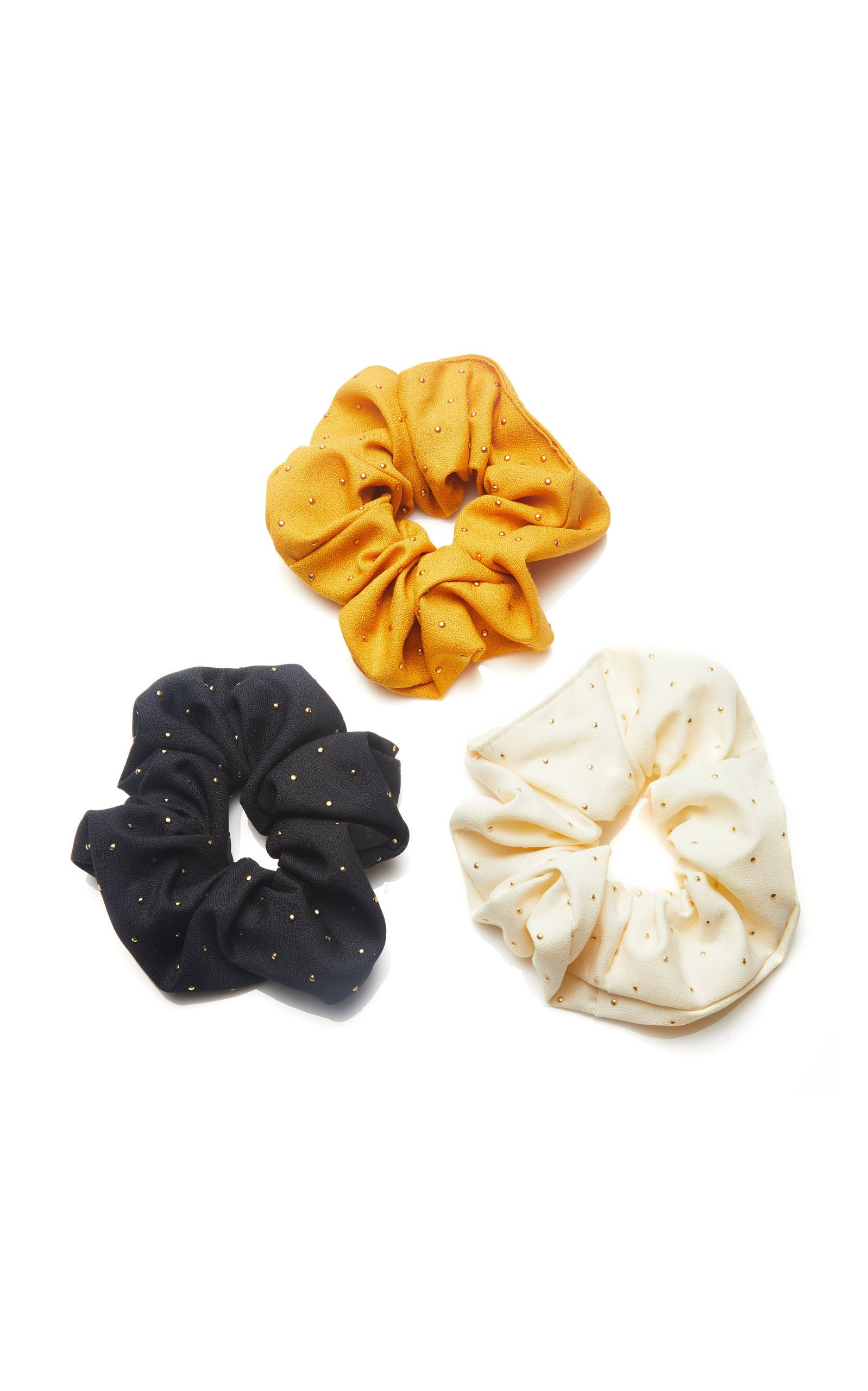 8 Other Reasons Set-Of-Three Bree Studded Crepe Scrunchies
